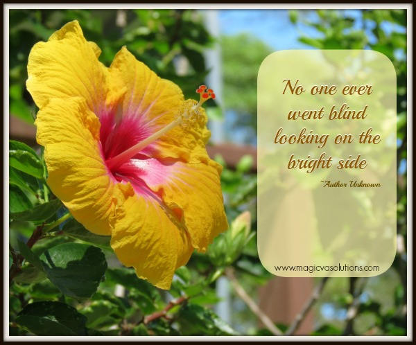 No one ever went blind looking on the bright side - Author Unknown