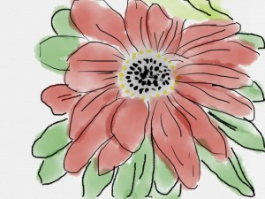 Watercolour of a flower created with Sketches by Tayasui
