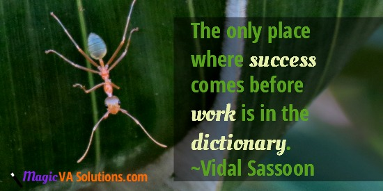 The only place where success comes before work is in the dictionary ~Vidal Sassoon