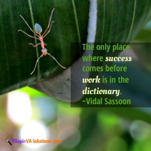 The only place where success comes before work is in the dictionary. ~ Vidal Sassoon